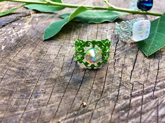Green boho ring ethnic ring Swarovski crystal ring