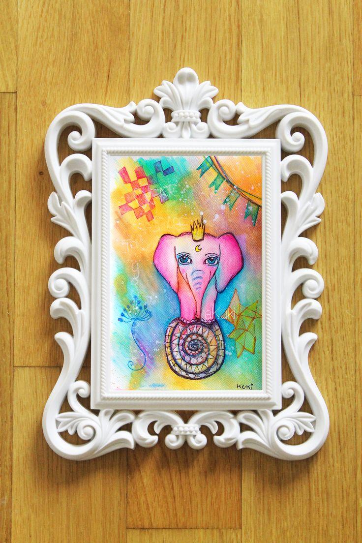 """Elefante bizzarro """"crea spazio per te stesso"""" stampa, arte surreale, poster cameretta, poster elefante mandala, decoro bimbi, quadri bambini di laKuki su Etsy"""