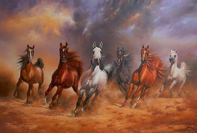 Wild horses   horses running wild iv najim aljaf oil on ...