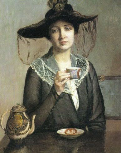 """A Cup of Tea"" (circa 1900) by Lilla Cabot Perry (1848-1933)"