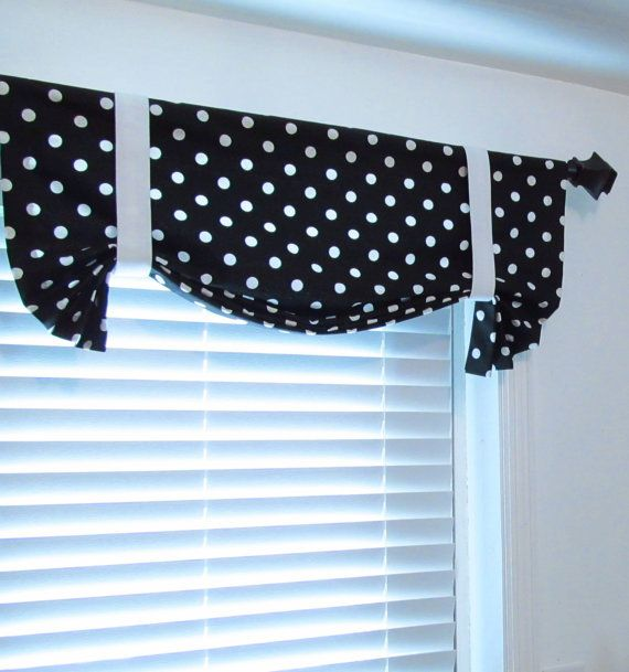 black white polka dots tie up curtain valance handmade in the usa polka dot tie dots and. Black Bedroom Furniture Sets. Home Design Ideas