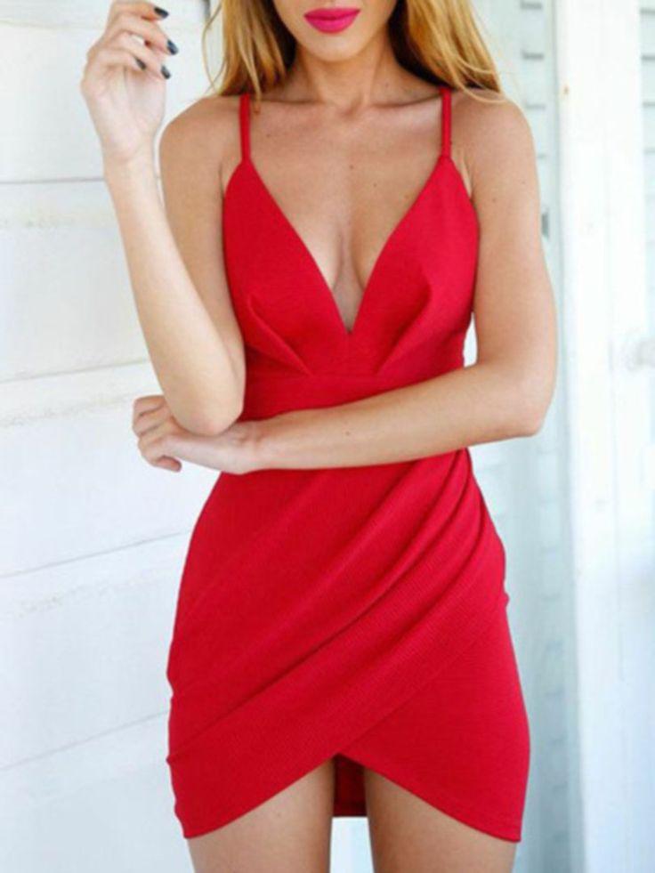 Red Deep V Strappy Asymmetric Hem Wrap Bodycon Mini Dress