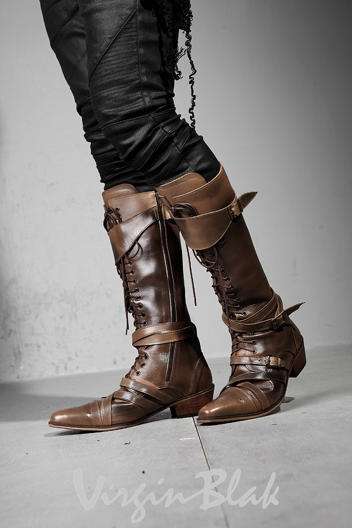 Cuffed and strapped knee boots. No longer available unfortunately, but damn these are nice.