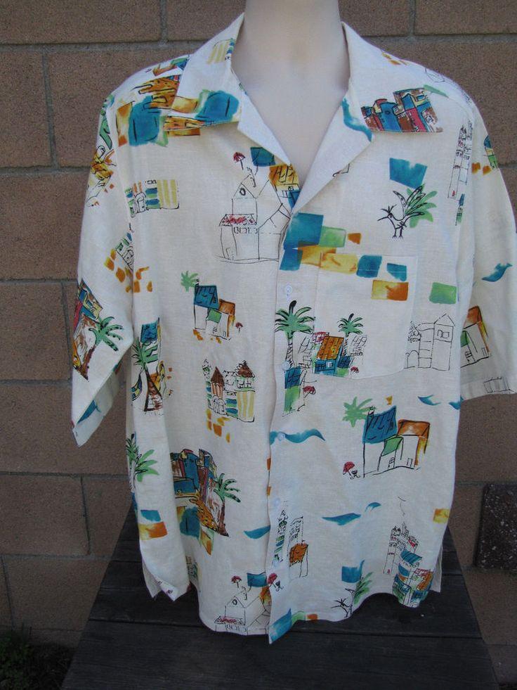 100% Linen James Brumfield Designs Camp Shirt Vacation Palm Trees Relaxation USA #JamesBrumfieldDesigns #CampShirt