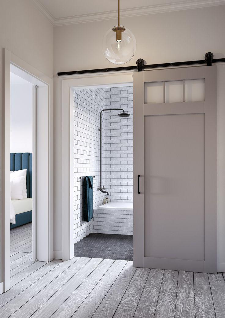 17 best ideas about barn doors on pinterest sliding barn for Porte coulissante salle de bain verre
