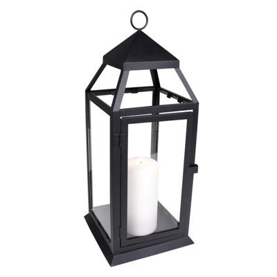 Large Black Contemporary Lanterns for Wedding Centerpieces and Decoration - Affordable Elegance Bridal -