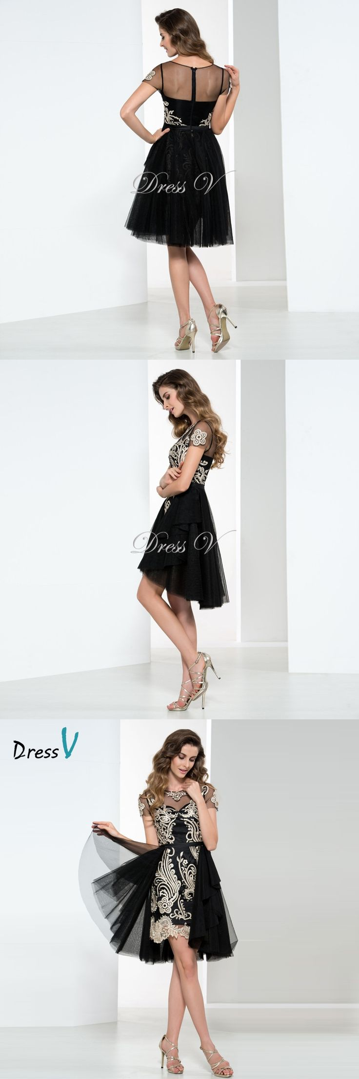 Dressv Black And Gold Lace Applique Cocktail Dresses Short Sleeves 2017 Applique A-Line Sexy Party Dress Above Knee Prom Gown