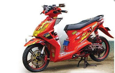 Modifikasi Honda Beat warna merah stripping kuning
