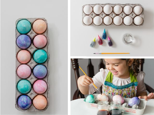 Watercolor Easter eggs - such a good idea for making egg dying more fun and interactive for the littles.