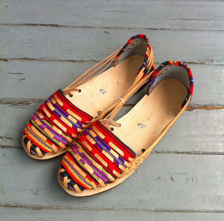 Leather and textile sandals, handmade in Guatemala.  / proud mary