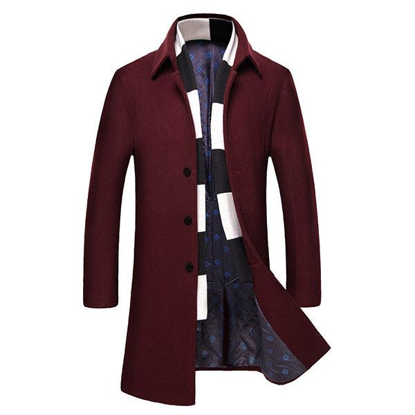 Mens Winter Trench Coat Woolen Warm Turndown Collar Slim Fit Long Coat (185 BRL) ❤ liked on Polyvore featuring men's fashion, men's clothing, men's outerwear, men's coats, mens single breasted pea coat, mens long wool coat, mens long trench coat and mens trench coat