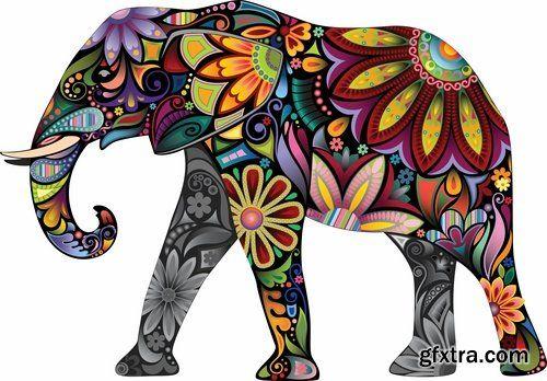 Декоративные цветные татуировки диких животных и домашних животных - 25 Eps