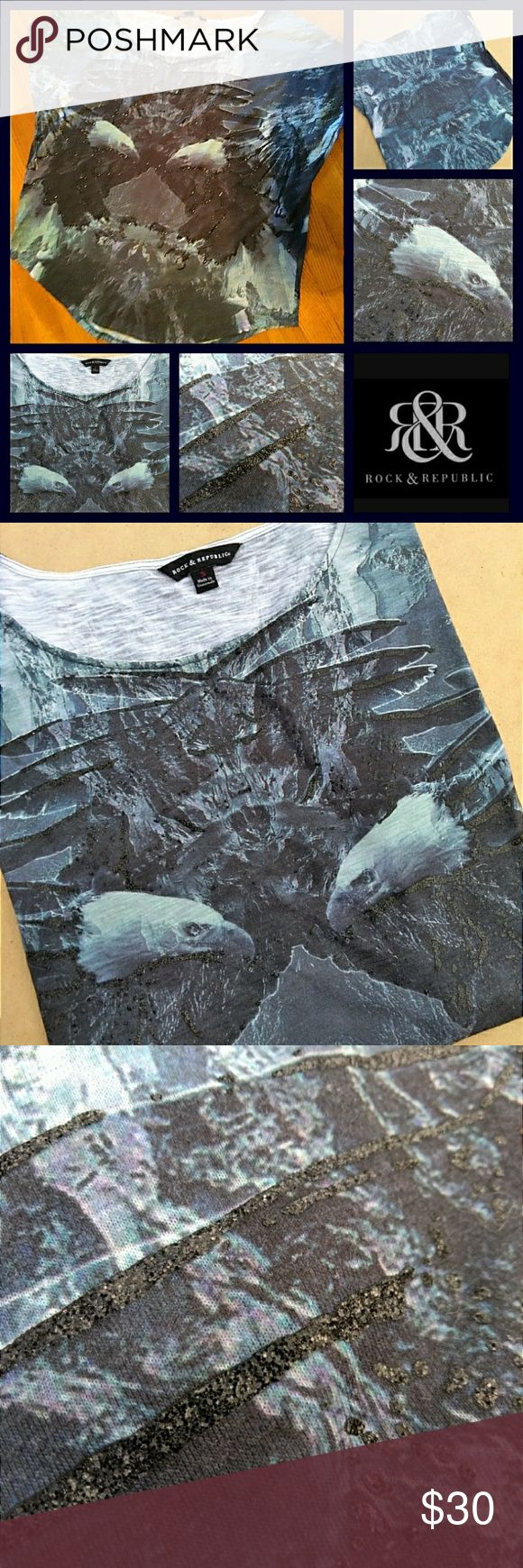 🦅Rock & Republic Bald Eagle Sparkly Blouse🦅 NWOT! Rock & Republic. This blouse is so cool.  Beautiful screen print Eagles.  There are parts on the shirt with a layered glittery effect. Slight bat wing type sleeves.  The sleeve holes are cut like slits almost.  Very cool look.  Raw edges on the sleeves.  See pic 5. Never worn.  Perfect condition.  Size S.  Slightly Oversized. Enjoy! Rock & Republic Tops Blouses