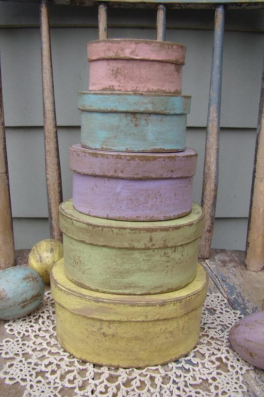 Easter Boxes - love the grubbiness on the pretty pastel colours