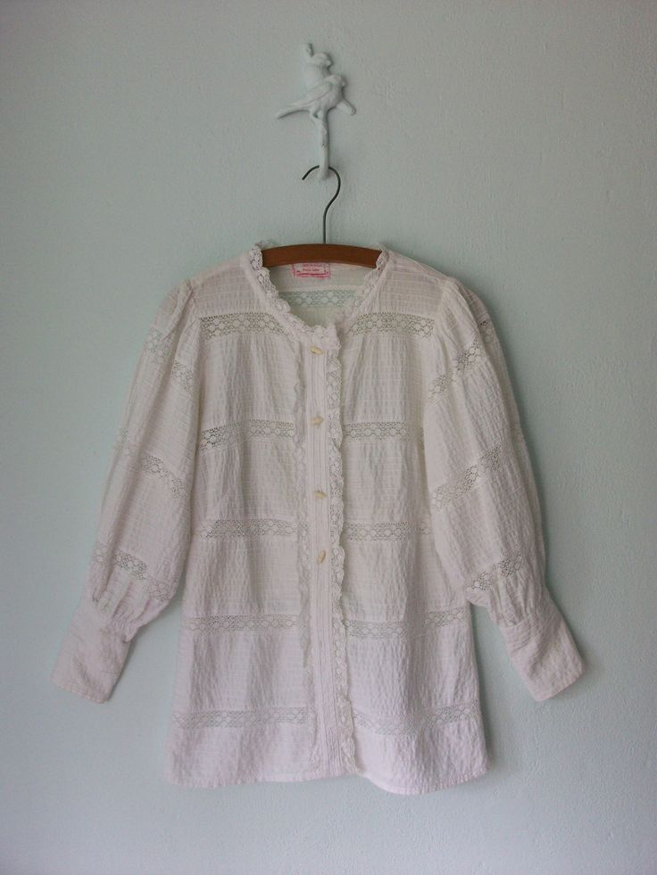 Lace Peasant Blouse ... Vintage 70's White Pintuck Poet Shirt ... Large. $38.00, via Etsy.