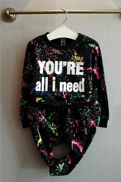 Stylish Letter Print Long Sleeve Sweatshirt + Watercolour Printed Elastic Waist Pants Twinset For Girl