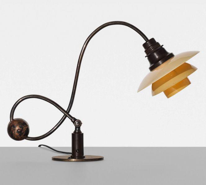 POUL HENNINGSEN,PH 22 Piano Lamp by Louis Poulsen,Denmark, 1931.Bronze, bakelite and glass. / Wright20