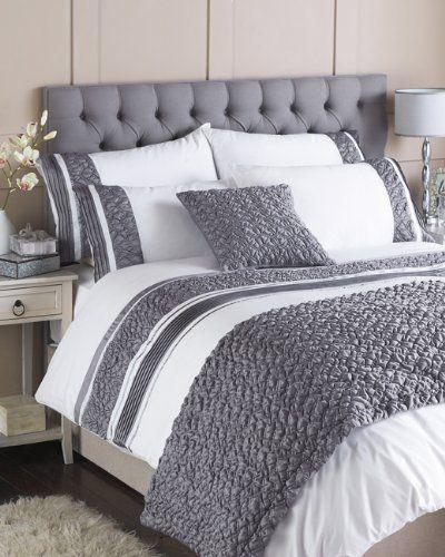 Riva Home Macy Pleated Pocket Duvet Cover Set White Grey