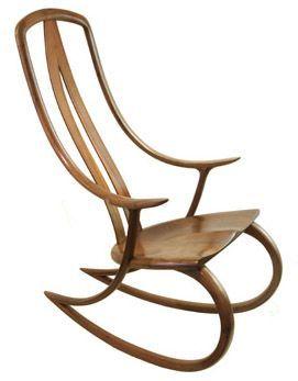 David Haig, rocking chair, bentwood, black walnut:
