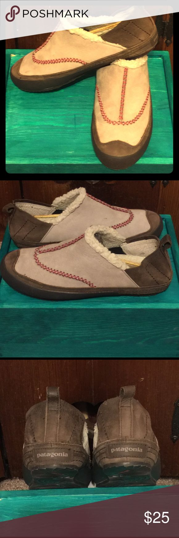 Patagonia shoes Suede body, rubber soles, slip on, warm, water proof, like new Patagonia Shoes Flats & Loafers