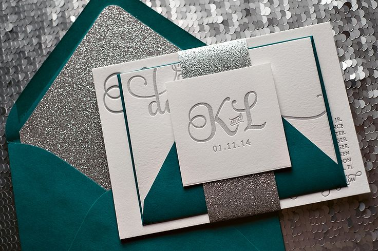 Peacock wedding invitations teal and silver