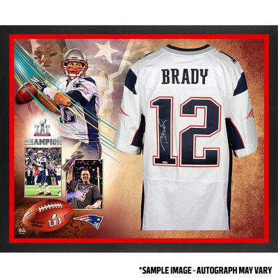Autographed New England Patriots Tom Brady Fanatics Authentic Framed White Nike Elite Jersey Super Bowl LI Champions Collage - TRISTAR