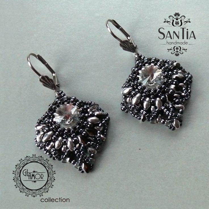 Sivo-čierno-strieborné náušnice so Swarovskim :http://santiahandmade.com/produkt/sivo-cierno-strieborne-nausnice-so-swarovskim/