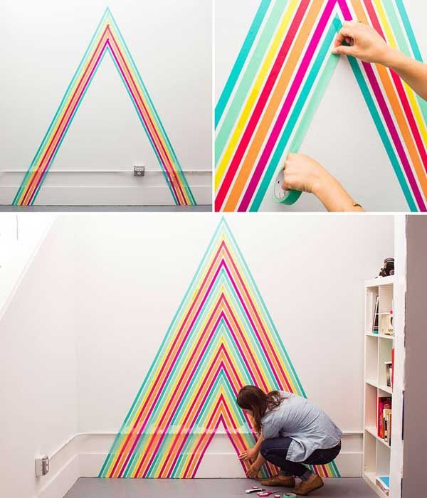 26 DIY Cool And No-Money Decorating Ideas for Your Wall - Temporary Wallpaper Using Washi Tape
