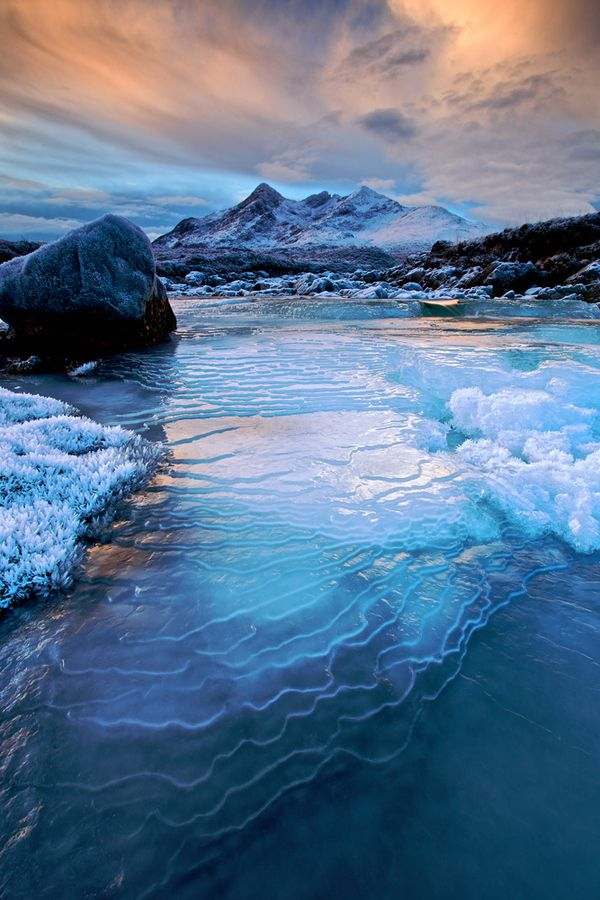 Cuillin Hills and frozen river at Sligachan, Isle of Skye