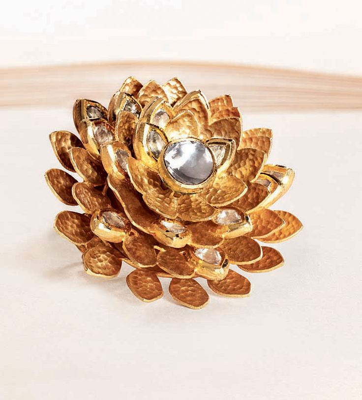 Zoya yellow gold lotus ring with polki diamond-studded petals