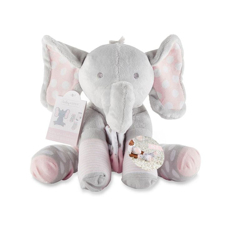 Baby Girl Baby Aspen Lilly the Elephant Plush Toy & Socks Set, Grey