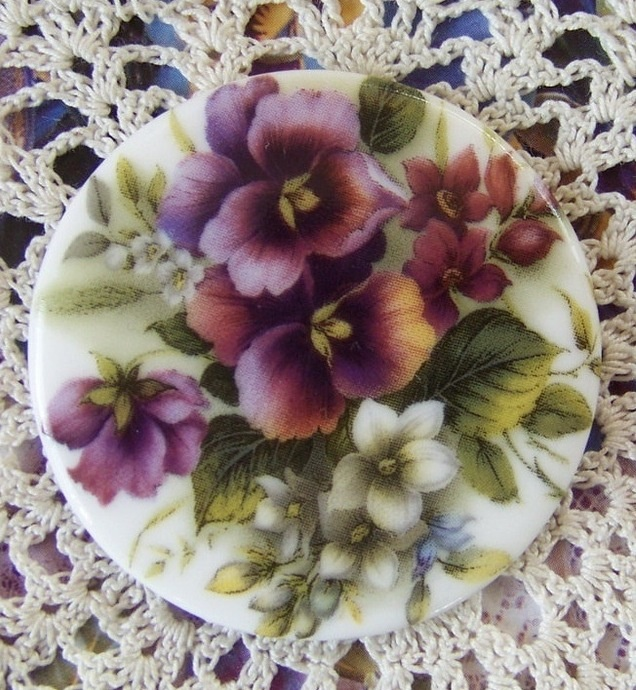 Cameo Gorgeous 1 1/2 Pansy Mix Porcelain Fired Hand by charmedone