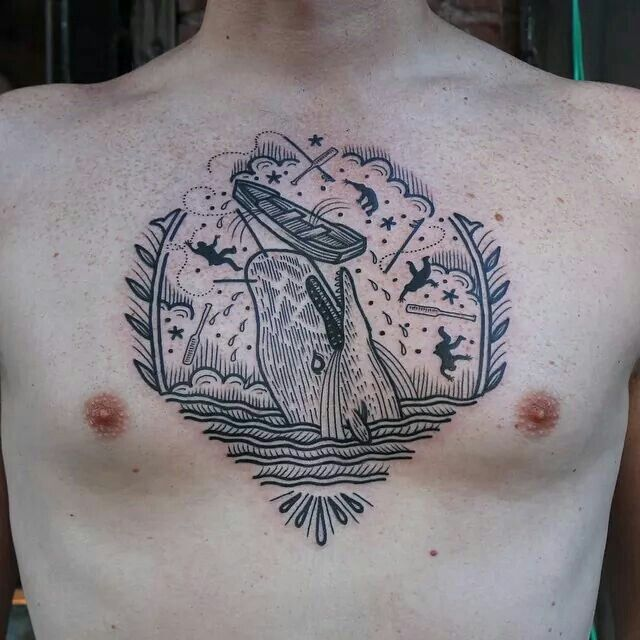 Rob banks east river tattoo whale chestpiece modern for East river tattoo price