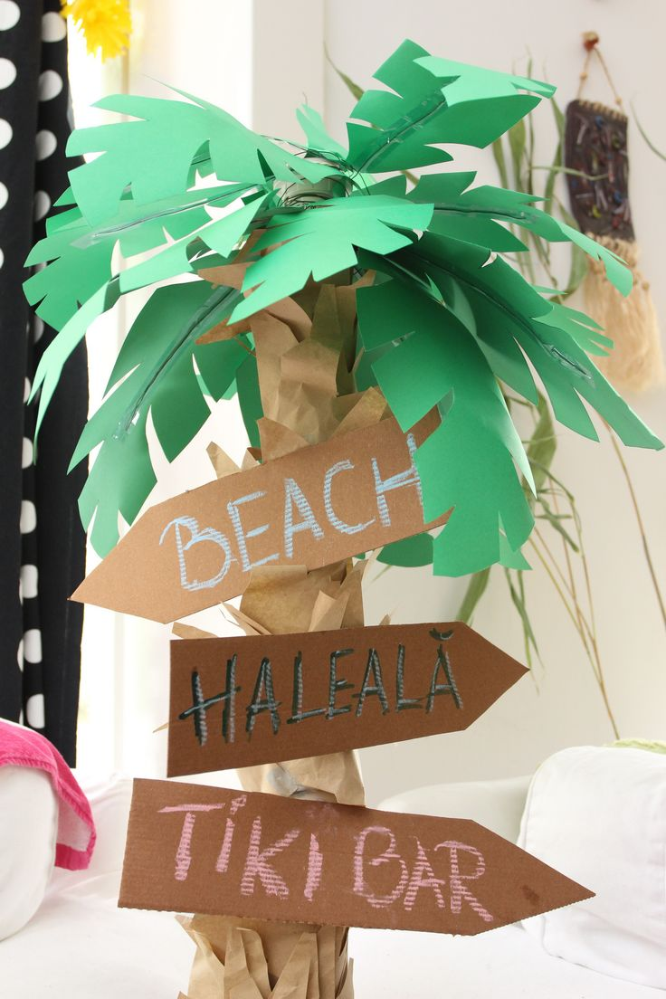 Paper Palm Tree For Luau Party Decoration With Pizza Cardboard Signs Made With Wrapping Paper