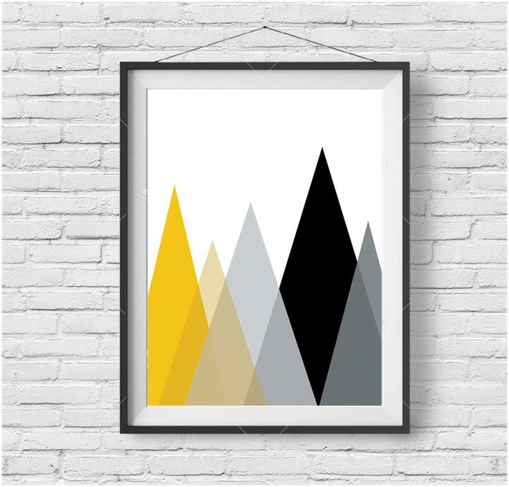 Mustard Mountain Print Scandinavian Print Yellow Wall Art Black and Yellow Print…
