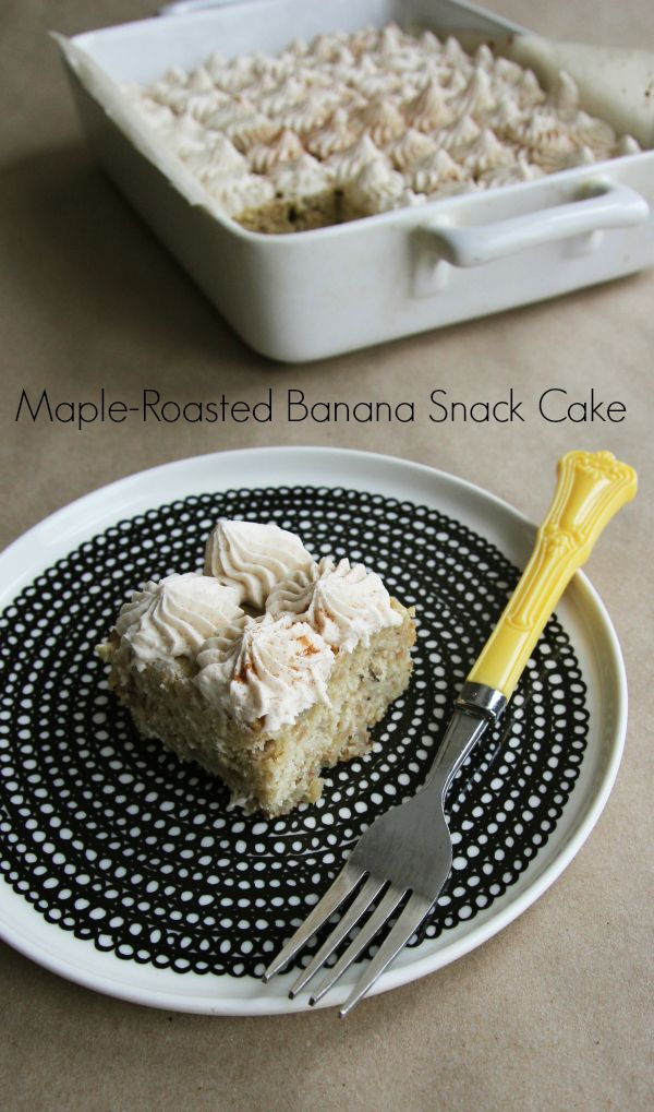 Bake up casual snack cake, sweetened with maple-roasted bananas.