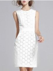 Hollow Out Delightful Crew Neck Bodycon-dress