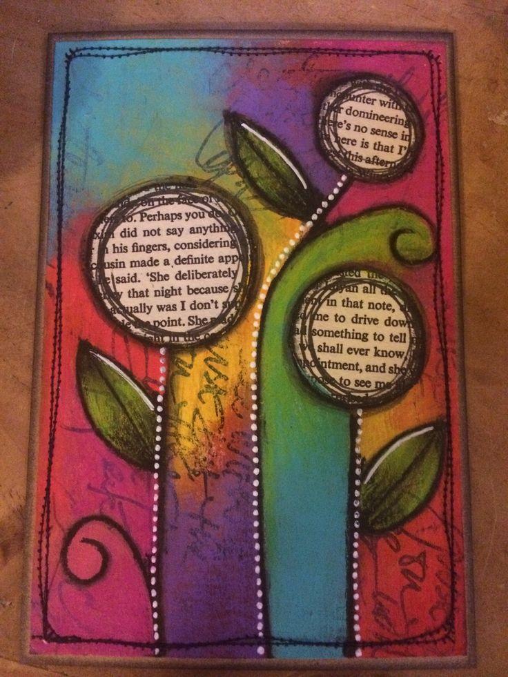 Colourblocking mixed media postcard