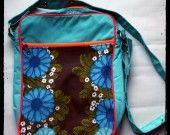 borsa in tessuto vintage anni 70 blue daisy : Borse a tracolla di glamstraat