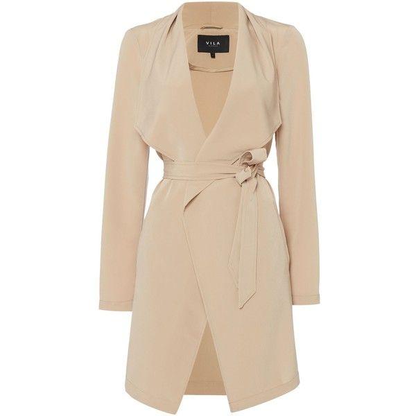Vila Long Sleeve Wrap Waist Coatigan (£35) ❤ liked on Polyvore featuring tops, cardigans, camel, women, long sleeve cardigan, cardigan coat, wrap top, long sleeve wrap top and camel cardigan