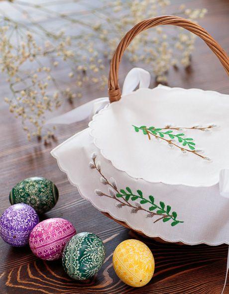 serwetka ręcznie haftowana do wielkanocnego koszyczka folkstar wyhaftowane bazie sztuka ludowa folklor polski (napkin basket for Easter)