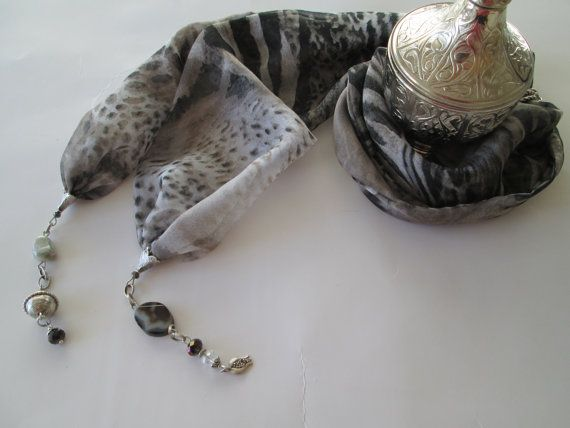 Leopard Chiffon Scarf Necklace neck by TurquoiseJewel on Etsy