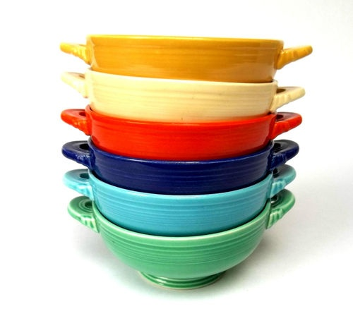 Fiesta ware soup bowls -love the handles. My sister Cindy would like these colors.