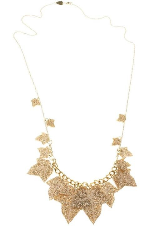 Ivy Leaves Long gold Necklace