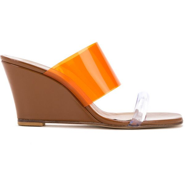 Maryam Nassir Zadeh transparent panel wedge andals (£630) ❤ liked on Polyvore featuring shoes, orange, wedge sole shoes, genuine leather shoes, wedge shoes, leather wedge shoes and wedge heel shoes