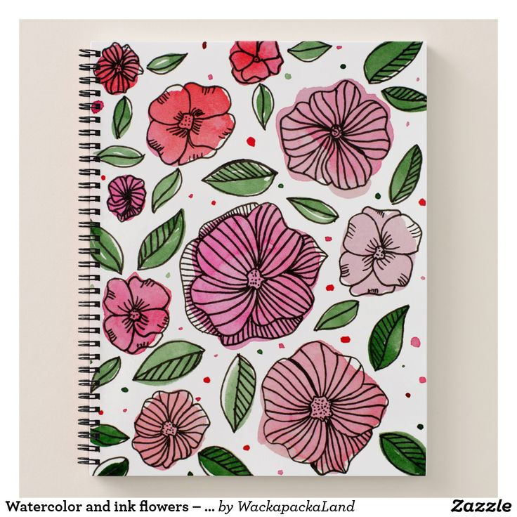 Watercolor and ink flowers – pink and green. Delicate flowers and leaves made with watercolor shapes and inked details. Pink and green palette. #zazzle #watercolor #flowers #floral #foliage #ink #leaf #leaves #notebook #stationery #cutestationery #spring #pink #green