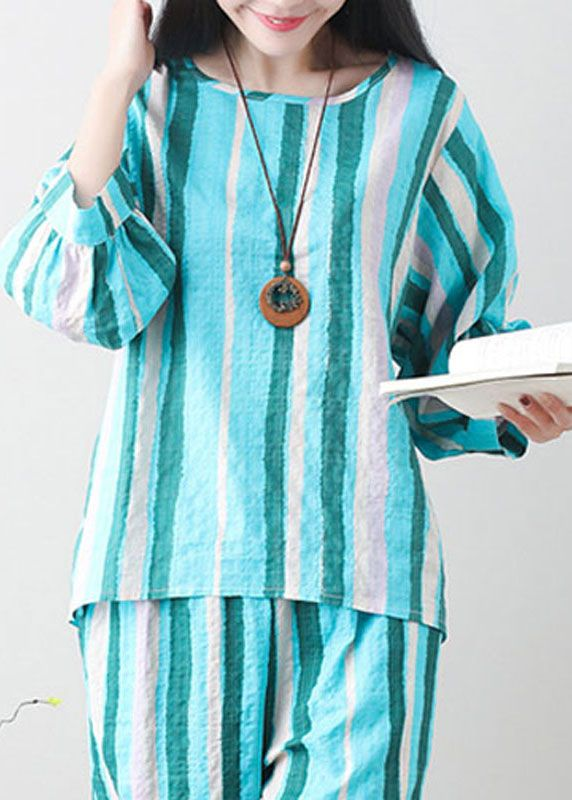 96a5a1efd77 Unique green linen clothes For Women Tunic Tops striped summer top ...