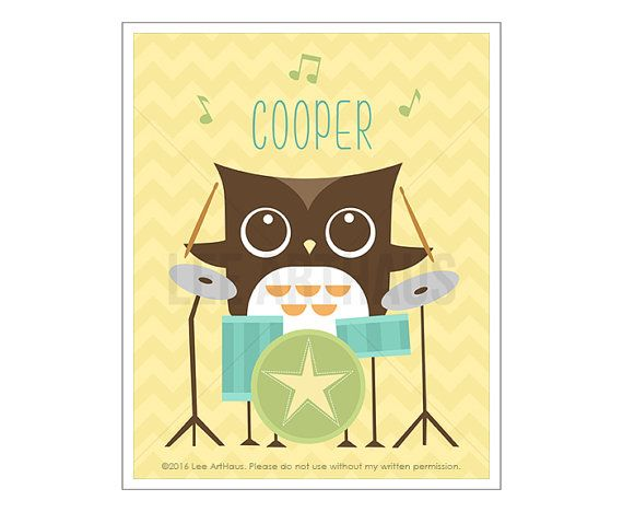 105P Owl Wall Art Personalized Owl on Drums Wall Art | Lee ArtHaus ...