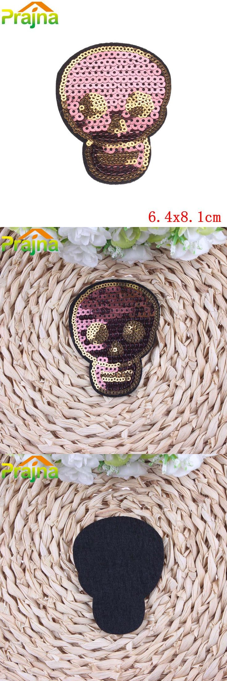 [Visit to Buy] DIY Punk Rock Skull Patch Badges For Clothing Accessories Sew On Pink Sequins Outlaw Biker Patches For Jeans Clothes Stickers #Advertisement