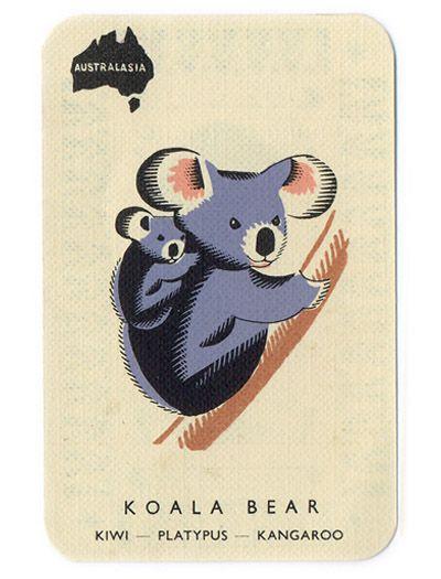 Cute Australian Kola Bear postcard [Abbatt Toys game via Things Magazine]